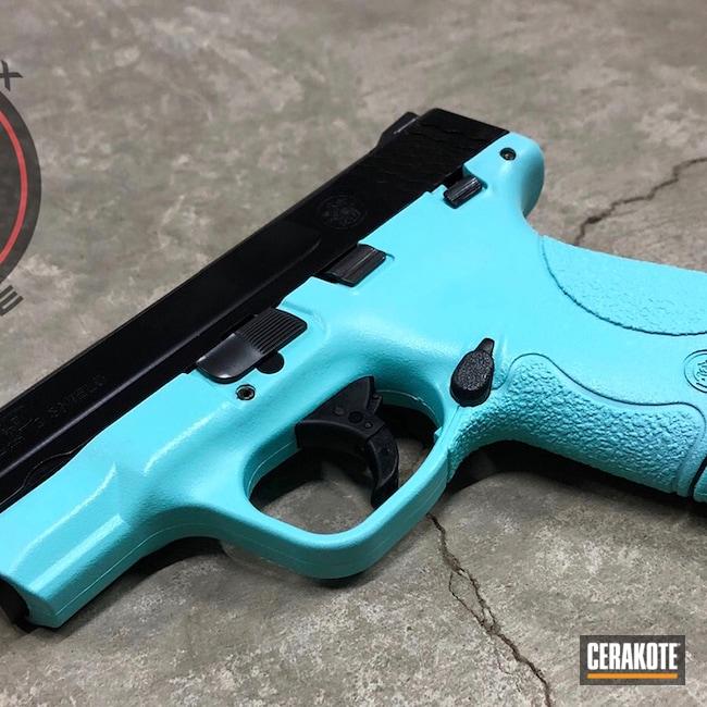 Cerakoted: S.H.O.T,9mm,M&P,Robin's Egg Blue H-175,Two Tone,Smith & Wesson,Shield,Pistol