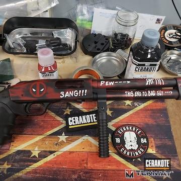Cerakoted Deadpool Themed 12 Gauge Shotgun