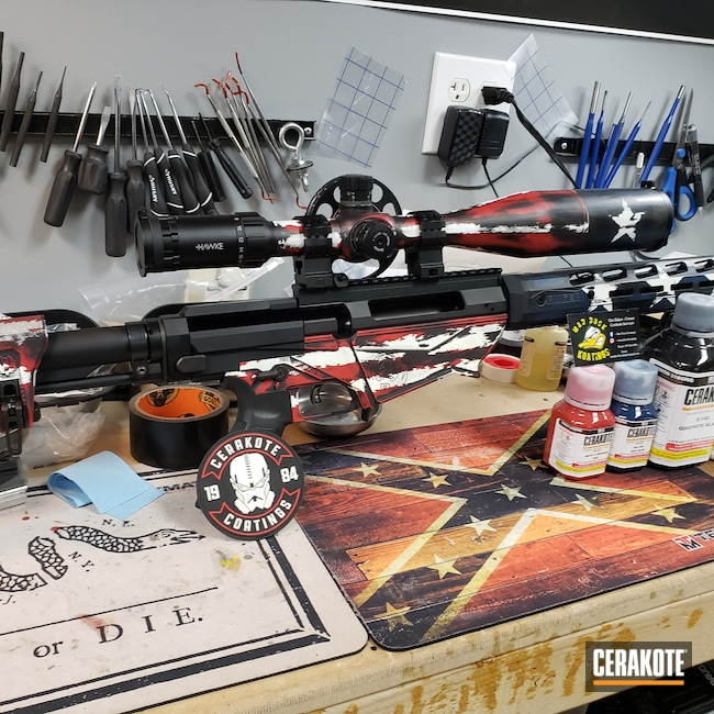 Cerakoted: SHOT,Bolt Action Rifle,Ruger,Graphite Black H-146,Precision,Stormtrooper White H-297,Distressed American Flag,KEL-TEC® NAVY BLUE H-127,SMITH & WESSON® RED H-216