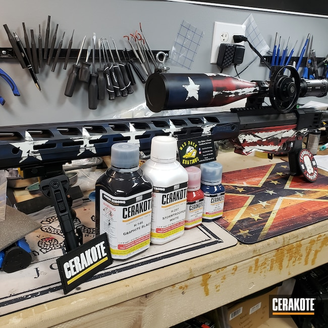Cerakoted: S.H.O.T,Bolt Action Rifle,Ruger,Graphite Black H-146,Precision,Stormtrooper White H-297,Distressed American Flag,KEL-TEC® NAVY BLUE H-127,SMITH & WESSON® RED H-216
