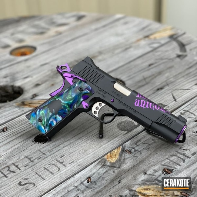 Cerakoted: Custom Grips,Kimber 1911,Custom 2,Pistol,Kimber Custom,Black Unicorn,SHOT,Kimber 1911 Custom II,Graphite Black H-146,Kimber,HIGH GLOSS CERAMIC CLEAR MC-160,Gun Coatings,1911,Handguns,Pistols