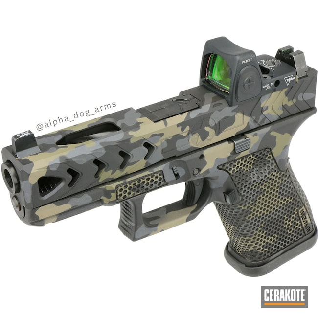 Cerakoted: SHOT,Glock 19,9mm,Laser Stippled,Sniper Grey H-234,MAGPUL® FLAT DARK EARTH H-267,MultiCam,Armor Black H-190,Pistol,Glock,Mil Spec Green H-264
