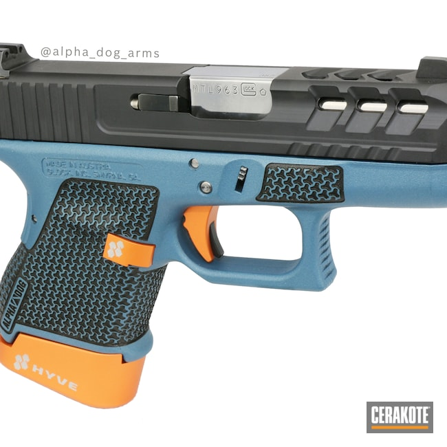 Cerakoted: SHOT,Custom Glock,alpha dog arms,Laser Stippling,Armor Black H-190,Pistol,Glock,.357 Sig,HI-VIS ORANGE H-346,Glock 33,Blue Titanium H-185,Slide Milling