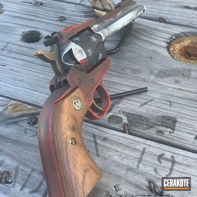 Cerakoted: Single-Action Revolver,Ruger,Graphite Black C-102,Distressed,USMC Red H-167,Pistol,American Flag,Gold H-122,SHOT,NRA Blue H-171,Battleworn,Revolver,Stormtrooper White H-297,Distressed American Flag,American Flag Theme,Single Six