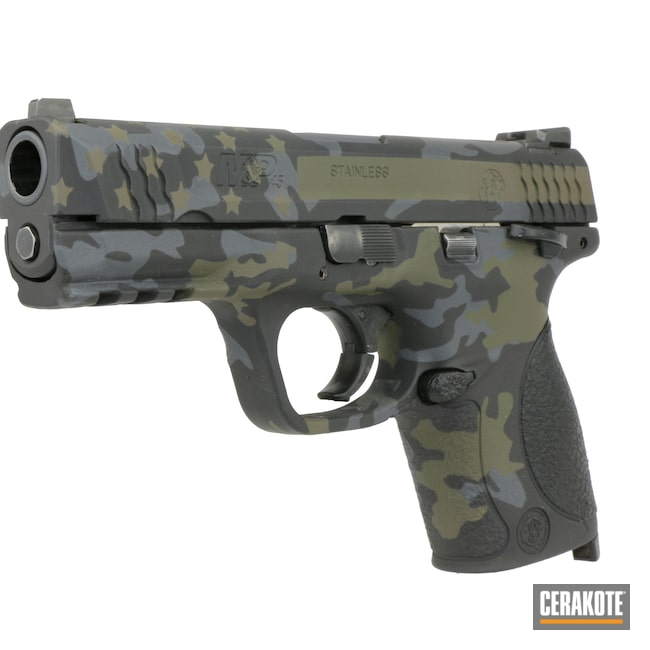 Cerakoted: SHOT,Sniper Grey H-234,MAGPUL® FLAT DARK EARTH H-267,MultiCam,Armor Black H-190,American Flag,S&W,M&P45,Mil Spec Green H-264