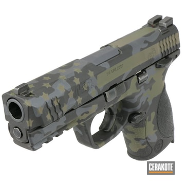 Cerakoted Black Multicam American Flag S&w