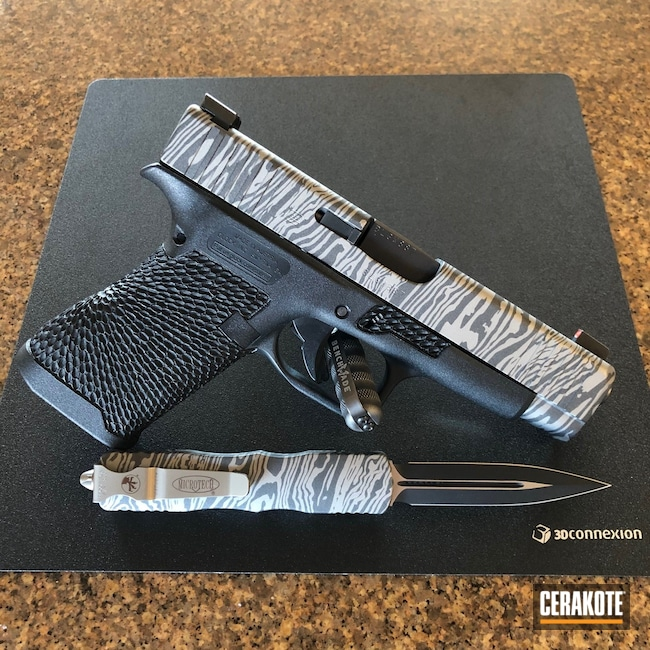 Cerakoted: Glock 48,SHOT,9mm,Damascus Steel,EDC Pistol,OTF Knife,Titanium H-170,Pistol,Glock,Damascus,Matching Set,Cobalt H-112
