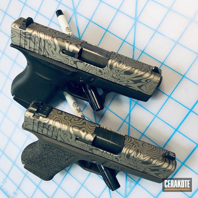 Cerakoted: SHOT,9mm,Damascus Steel,EDC Pistol,Gun Metal Grey H-219,Pistol,Glock,Damascus,Cobalt H-112,Glock 43