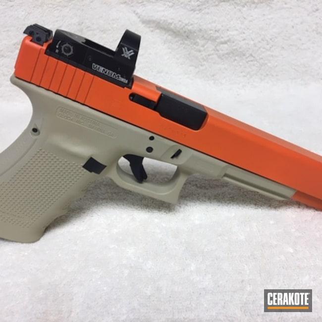 Cerakoted: S.H.O.T,10mm,FS BROWN SAND H-30372,GEN4,Pistol,Glock,Longnose,Hunter Orange H-128,Vortex Venom Red Dot,Handgun