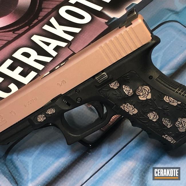 Cerakoted: SHOT,Glock 19,Graphite Black H-146,FN Five-Seven,Pistol,Glock,Roses,ROSE GOLD H-327