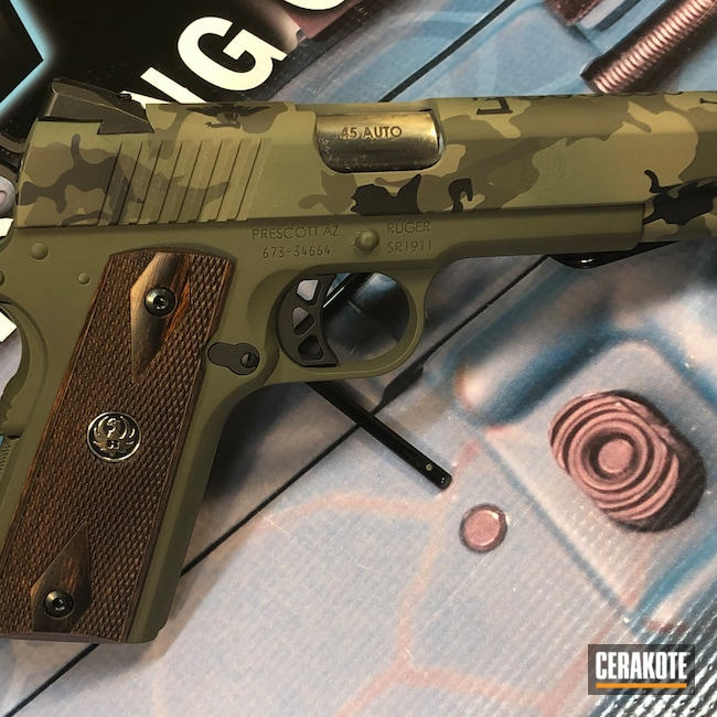 Cerakoted: O.D. Green C-241,S.H.O.T,.45,Highland Green H-200,MAGPUL® FLAT DARK EARTH H-267,Graphite Black H-146,Patriot Brown H-226,Pistol,1911