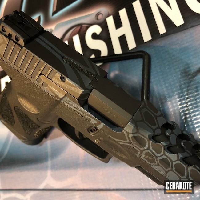 Cerakoted: S.H.O.T,9mm,Kryptek,Graphite Black H-146,Taurus G2,Pistol,Taurus,Blue Titanium H-185