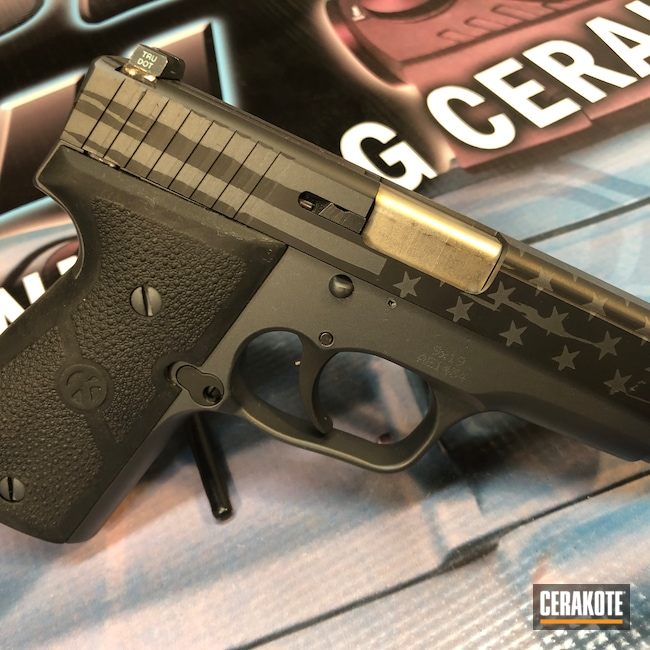 Cerakoted: S.H.O.T,9mm,Sniper Grey H-234,Patriotic,Graphite Black H-146,Kahr 9,American Flag