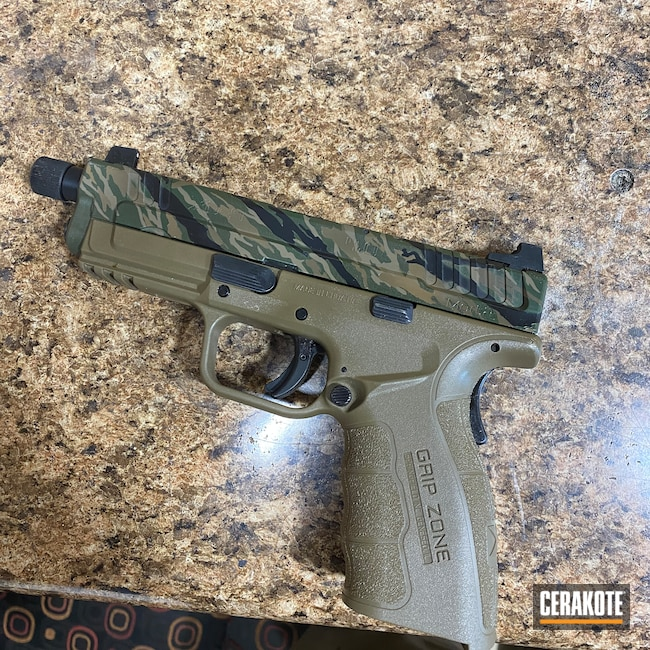 Cerakoted: S.H.O.T,Noveske Tiger Eye Brown H-187,9mm,Vietnam Tiger Stripe Camo,Tiger Stripes,MAGPUL® FLAT DARK EARTH H-267,Cerakote,Springfield XD,Armor Black H-190,Springfield Armory,SQUATCH GREEN H-316,XDm