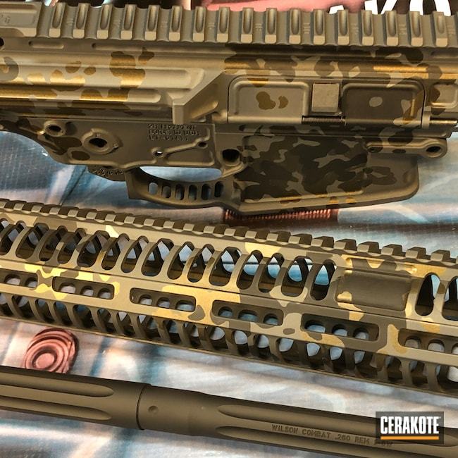 Cerakoted: S.H.O.T,Sniper Grey H-234,Flecktarn,Graphite Black H-146,Upper / Lower / Handguard,Burnt Bronze H-148,.308