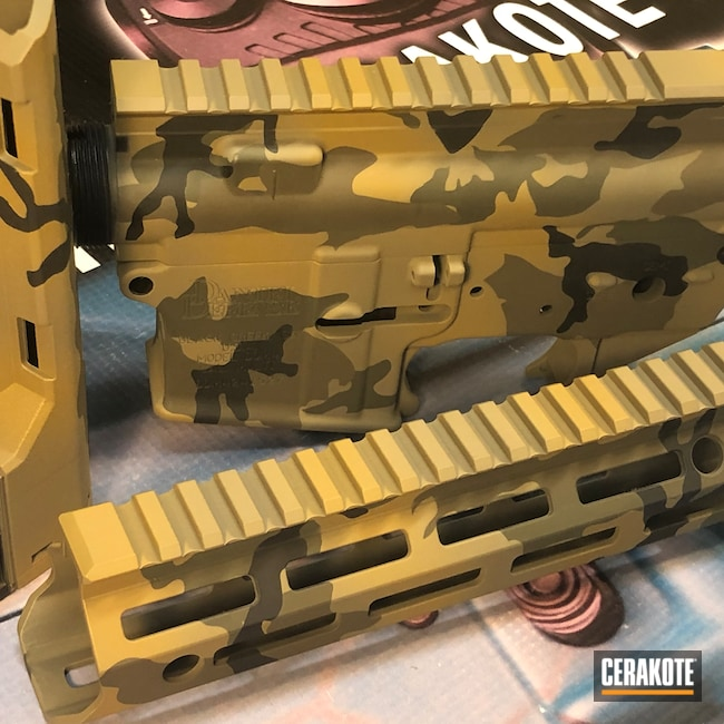 Cerakoted: S.H.O.T,Noveske Tiger Eye Brown H-187,MAGPUL® FLAT DARK EARTH H-267,Daniel Defense,Woodland Camo,Graphite Black H-146,Patriot Brown H-226,Tactical Rifle,O.D. Green H-236,5.56