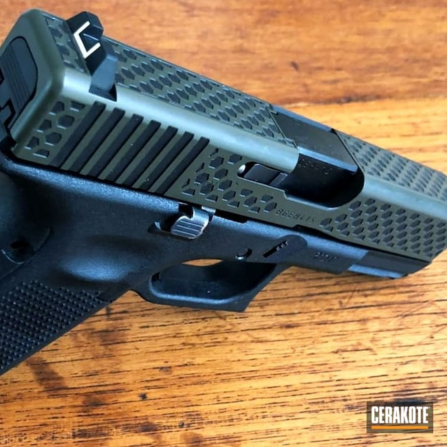 Cerakoted: SHOT,Glock 19,9mm,Cerakote,Graphite Black H-146,Pistol,Glock,O.D. Green H-236