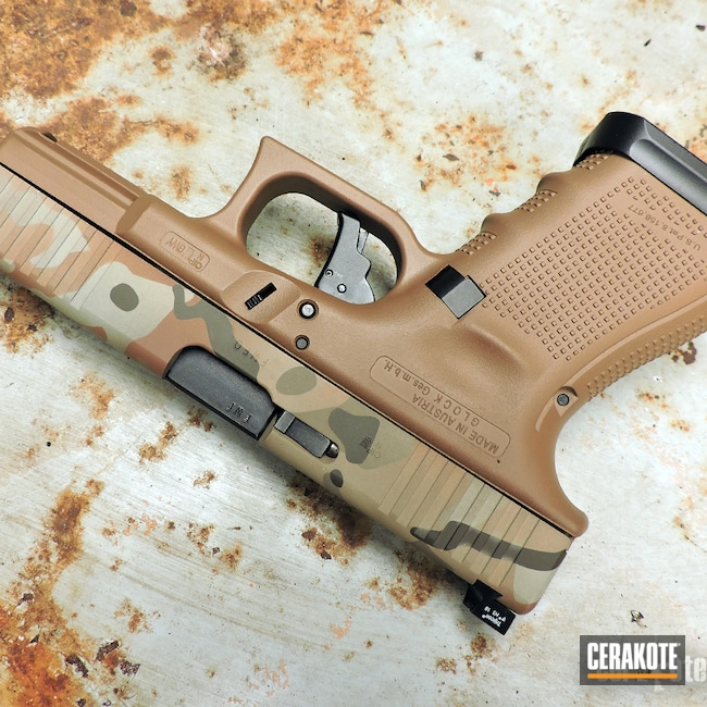 Cerakoted: S.H.O.T,TROY® COYOTE TAN H-268,Pistol,FS BROWN SAND C-30372,Flat Dark Earth H-265,Glock Gen 4,Handgun,Glock 19,9mm,MultiCam,Desert Sand H-199,Patriot Brown H-226,Glock,Copper Brown H-149,Glock 19X
