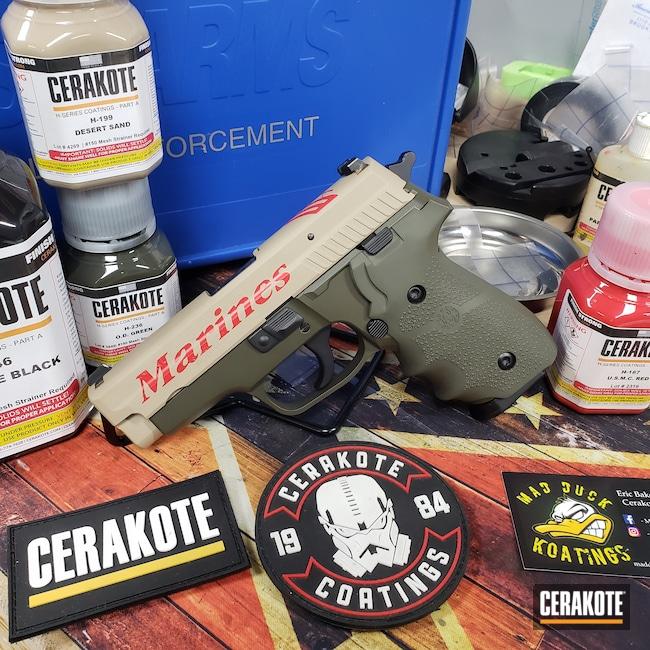 Cerakoted: Sig Sauer P229,Semper Fi,Desert Sand H-199,P229,USMC Red H-167,Pistol,Sig Sauer,O.D. Green H-236,USMC