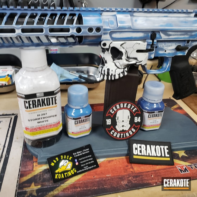 Cerakoted: S.H.O.T,Sea Blue H-172,Spike's Tactical,Graphite Black H-146,Stormtrooper White H-297,Tactical Rifle,Spikes,.308,Jack,POLAR BLUE H-326