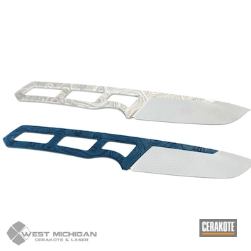 Cerakoted Tactical Knife Blades In H-255 And H-401