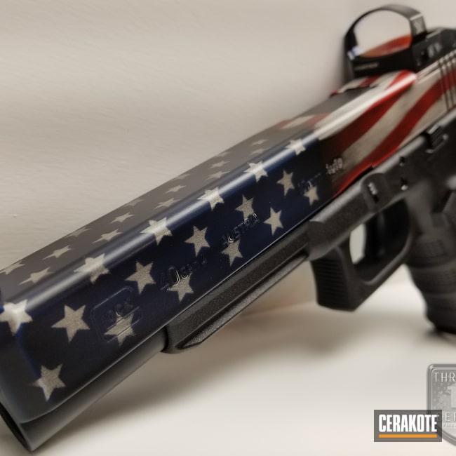 Cerakoted: MOS,USMC Red H-167,Armor Black H-190,Pistol,American Flag,Glock 40,Hidden White H-242,SHOT,Patriotic,10mm,Distressed American Flag,KEL-TEC® NAVY BLUE H-127,Glock