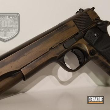 Cerakoted Battleworn 1911 Handgun In H-148 And H-190