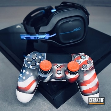 Cerakoted American Flag Themed Ps4 Game Controller