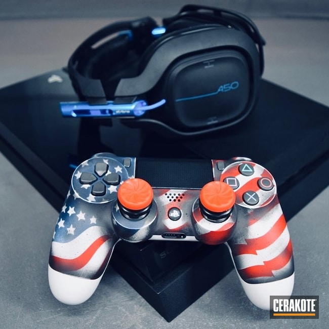 Cerakoted: ps4 remote,Distressed,Video Games,Armor Black H-190,American Flag,More Than Guns,Consumer Electronics,Bright White H-140,Battleworn,Battleworn Flag,RUBY RED H-306,Distressed American Flag,KEL-TEC® NAVY BLUE H-127,Gaming,PS4 Controller