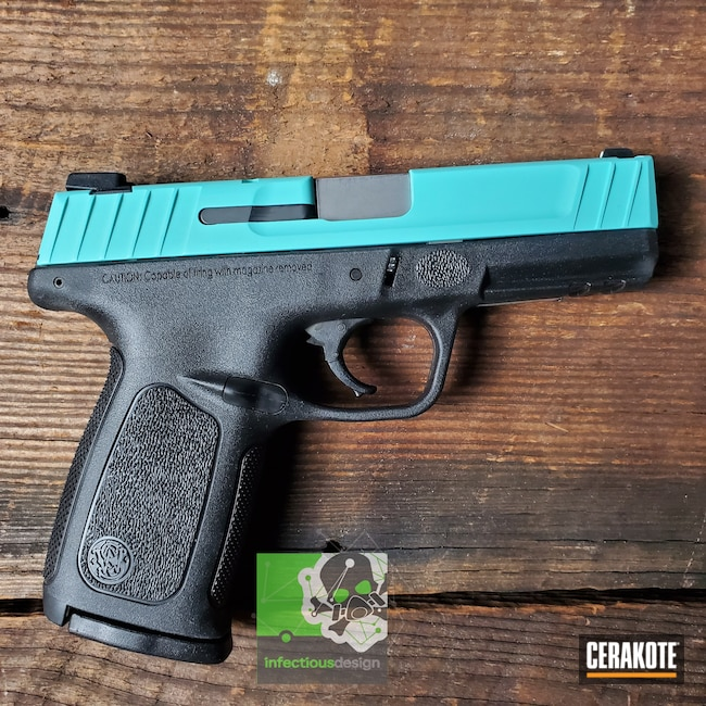 Cerakoted: S.H.O.T,9mm,Robin's Egg Blue H-175,Two Tone,Smith & Wesson,Pistol