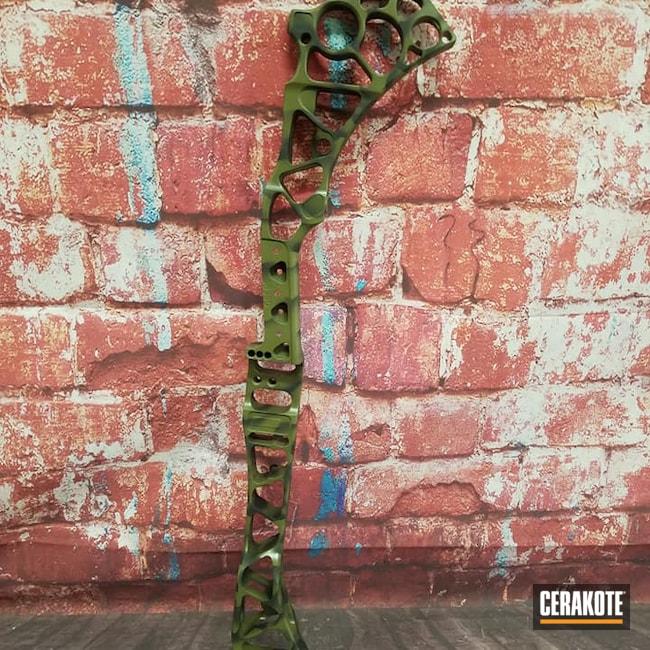 Cerakoted: SHOT,Bow Riser,Graphite Black H-146,Bow Hunting,Noveske Bazooka Green H-189,Archery,Custom Camo