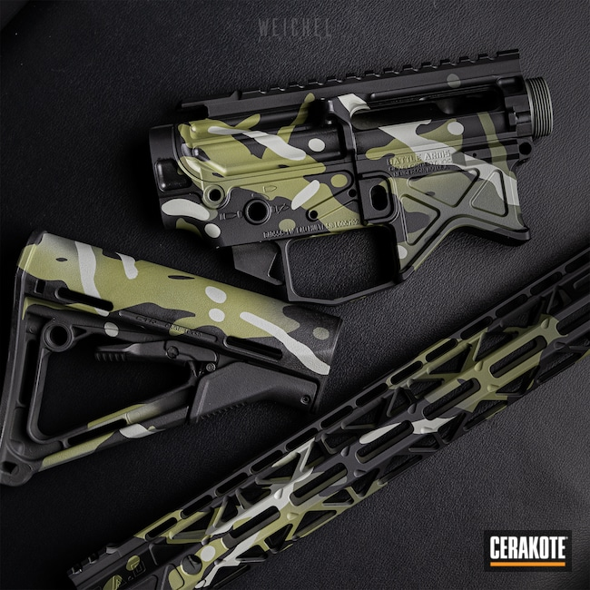 Cerakoted: SHOT,WA/MCB,SPRINGFIELD® GREY H-304,Graphite Black H-146,BATTLE READY ARMS,Gun Parts,Firearms,Noveske Bazooka Green H-189,MultiCam Black