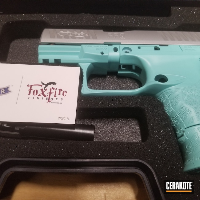 Cerakoted: S.H.O.T,9mm,Walther,Robin's Egg Blue H-175,Walther PPQ,ppq45,Satin Aluminum H-151,Pistol,ppq,Pistols