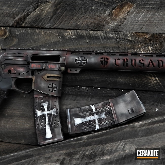 Cerakoted: Custom Theme,Crimson H-221,Spike's Tactical Crusader,Tactical Rifle,.223,Crusader,SHOT,Snow White H-136,Graphite Black H-146,Stainless H-152,SMITH & WESSON® RED H-216,Chocolate Brown H-258,AR-15