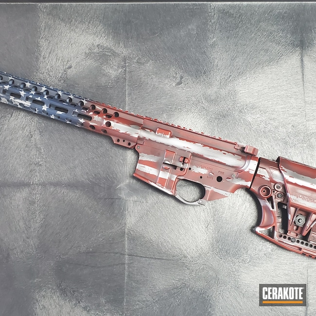 Cerakoted: Lower Receiver,Crimson H-221,Tactical Rifle,American Flag,Centurion Arms,Buttstock,SHOT,Patriotic,Patriot,Upper Receiver,Graphite Black H-146,Handguard,Luth-AR,Distressed American Flag,Distressed Flag,KEL-TEC® NAVY BLUE H-127,BATTLESHIP GREY H-213