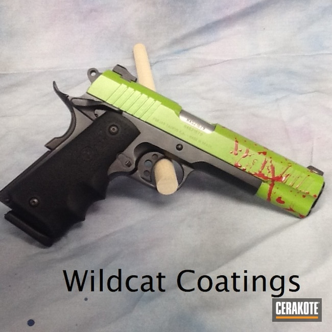 Cerakoted: SHOT,Zombie,Zombie Green H-168,Pistol,1911,Taurus,SMITH & WESSON® RED H-216,45 ACP