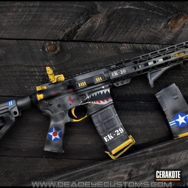 Cerakoted: SHOT,Corvette Yellow H-144,AR Pistol,NRA Blue H-171,Custom Theme,Snow White H-136,P51 Mustang WW2 Paint Scheme,Graphite Black H-146,Stainless H-152,Tactical Rifle,.223,WW2 Mustang Gun