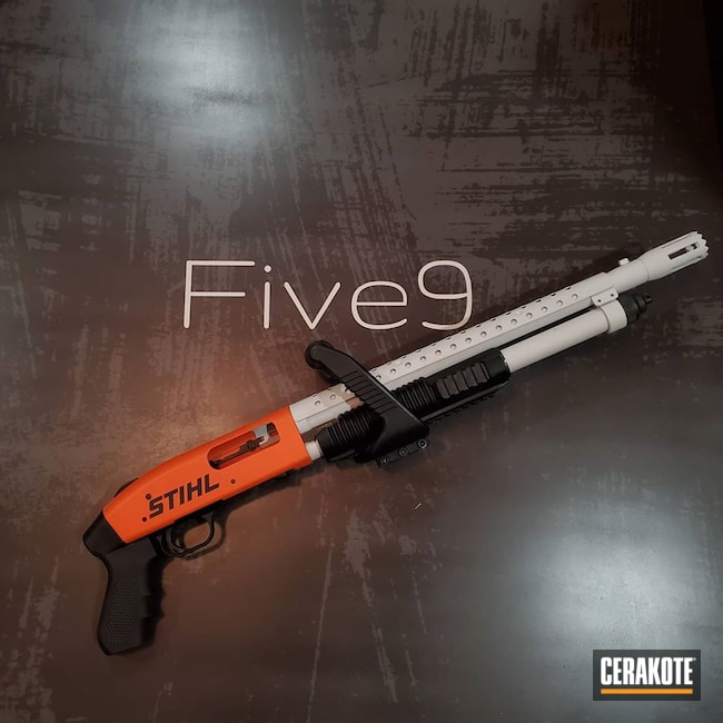 Cerakoted: Hidden White H-242,S.H.O.T,Shotgun,Armor Black H-190,Mossberg,Theme,Hunter Orange H-128,Stihl,Mossberg 500,Chainsaw