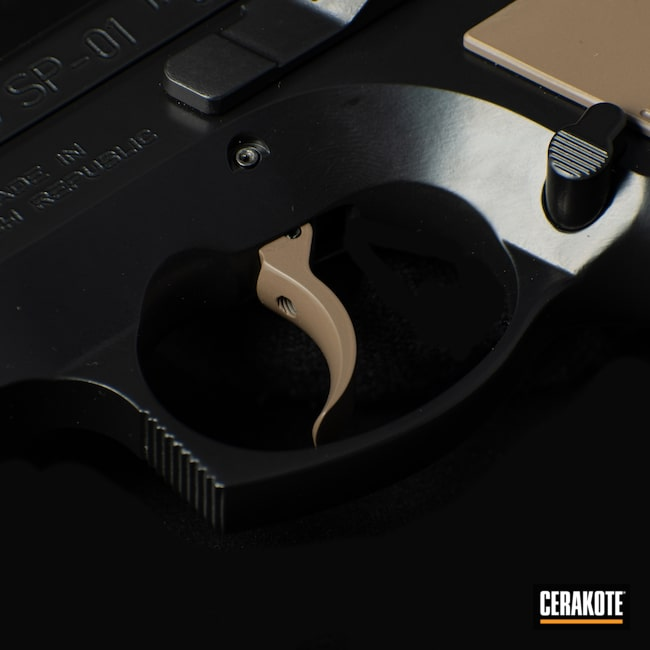 Cerakoted: SHOT,9mm,CZ 75 SP-01,75,BLACKOUT E-100,Two Tone,Firearm,Coyote M17 Tan E-170,Pistol,CZ,Firearms