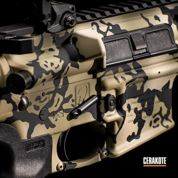 Cerakoted Brown And Black Multicam Ar Rifle