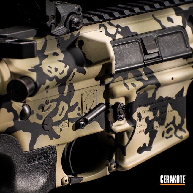 Cerakoted: SHOT,Rifle,FS BROWN SAND H-30372,Graphite Black H-146,AR,Rummans Firearms,Firearm,Tactical Rifle,Little One