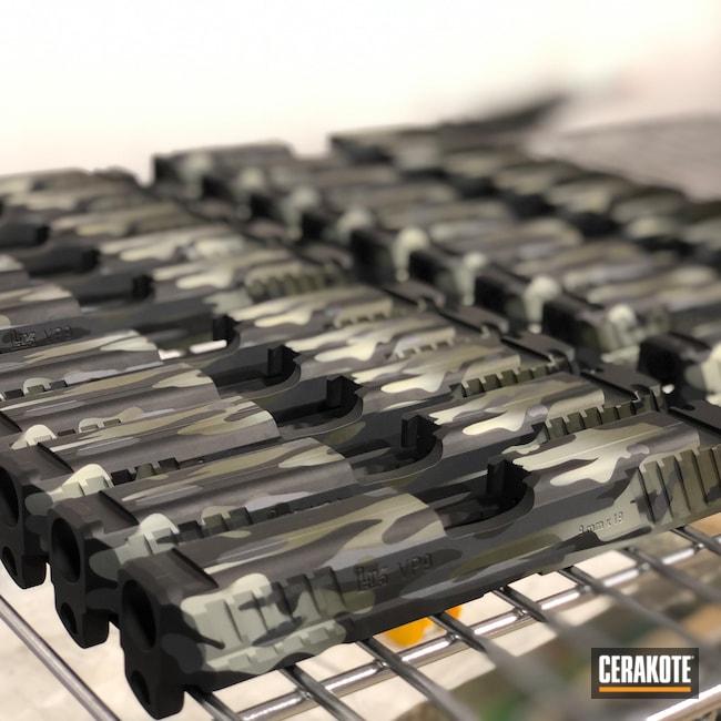Cerakoted: S.H.O.T,Large Scale,Vp9sk,Pistol,OEM,Slide,9mm,VP9,MultiCam,Graphite Black H-146,Mil Spec O.D. Green H-240,Bulk,BENELLI® SAND H-143,Volume,HK,Combat Grey H-130