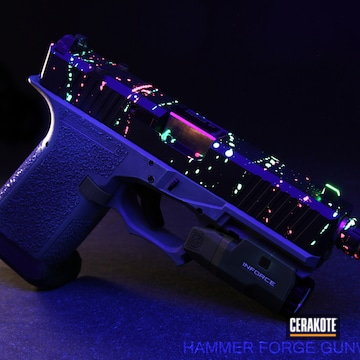 Cerakoted Black Light Activated Glock 19 Handgun