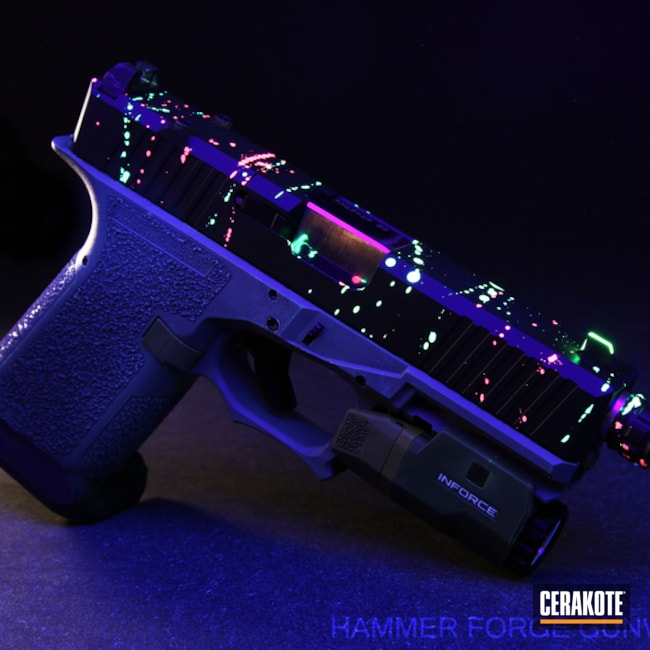 Cerakoted Black Light Activated Glock 19 Handgun