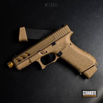 Cerakoted Tan Glock 19x Handgun