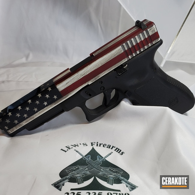 Cerakoted: Graphite Black H-146,RUBY RED H-306,Stormtrooper White H-297,KEL-TEC® NAVY BLUE H-127,Pistol,Glock,American Flag