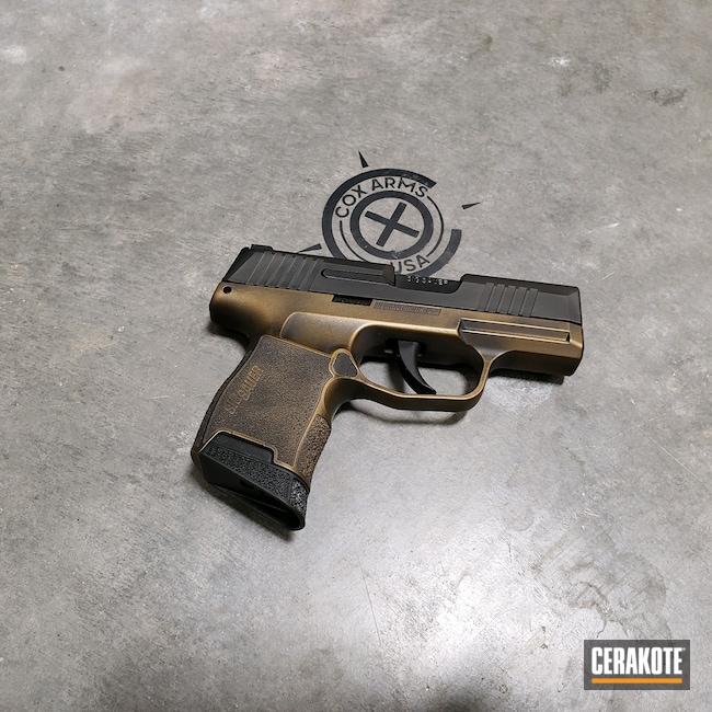 Cerakoted: 9mm,Sig P365,Battleworn,Custom,Burnt Bronze,p365,Burnt Bronze H-148,Sig Sauer,Sig