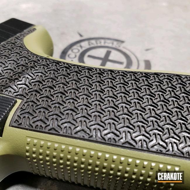 Cerakoted: 9mm,Glock 17 Gen 5,Custom Glock,Laser Stippling,Glock,Glock 17,Noveske Bazooka Green H-189,Laser