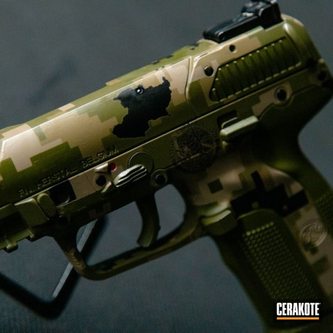 Cerakoted Fn 5.7 Digital Camo In H-343, H-146, H-199 And H-339