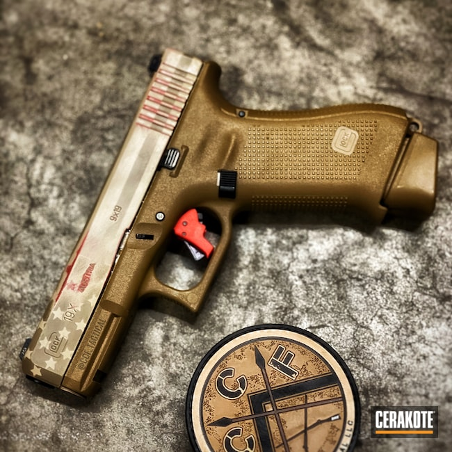 Cerakoted: 9mm,MAGPUL® FLAT DARK EARTH H-267,Battleworn,US Flag,Desert Sand H-199,USA,Glock,American Flag,SMITH & WESSON® RED H-216,Glock 19X